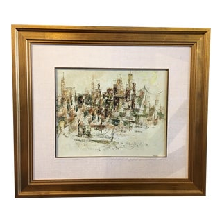 Original NYC cityscape oil painting by Chester Snowden (1900-1984).