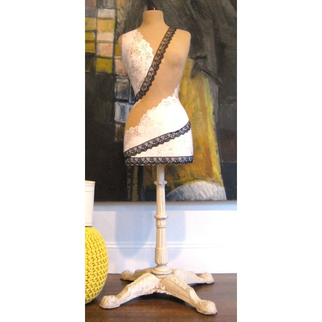 Lacy Mannequin with Antique Cast Iron Base - Image 2 of 8