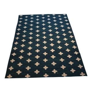 Handmade Dhurrie Blue Wool Rug - 5′ × 8′
