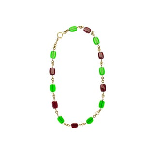 Chanel Vintage Green Glass Necklace