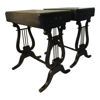 Circa 1940 Lyre Side Tables - A Pair