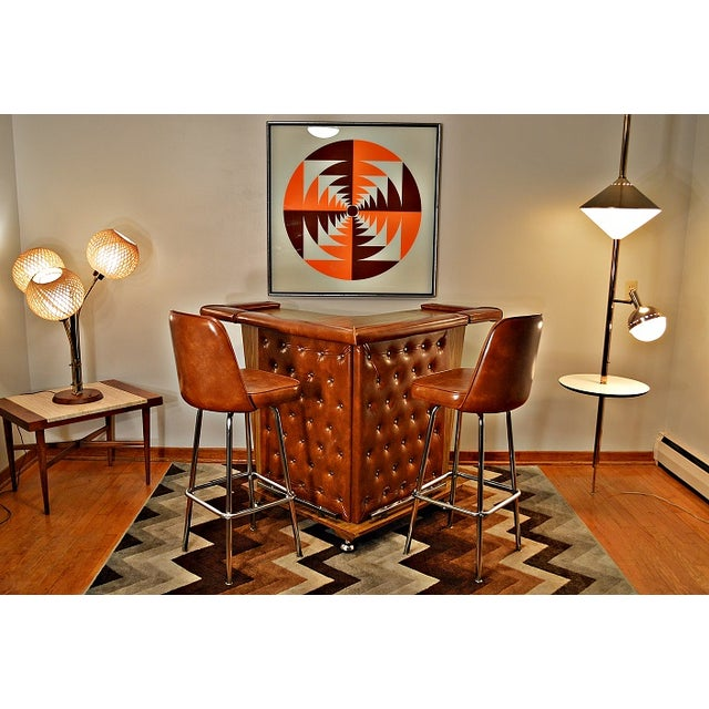 Mid-Century Home Cocktail Bar & Two Stools - Image 2 of 9