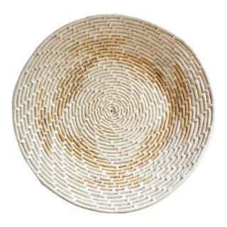 Native American Tan & Natural Coil Basket