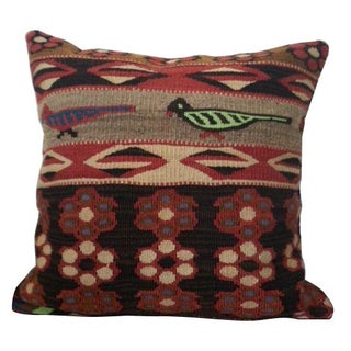 Wool Kilim Pillow with Bird