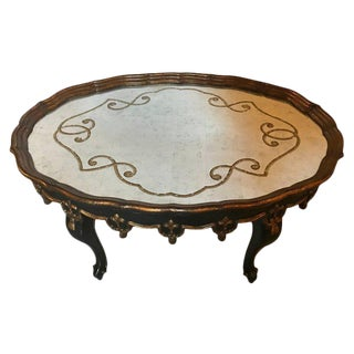 Louis XVI Fashioned Églomisé Mirror Top Coffee Table with Ebony & Gilt Base