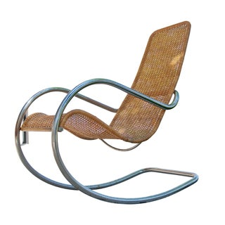 Vintage Steel and Rattan Rocking Chair