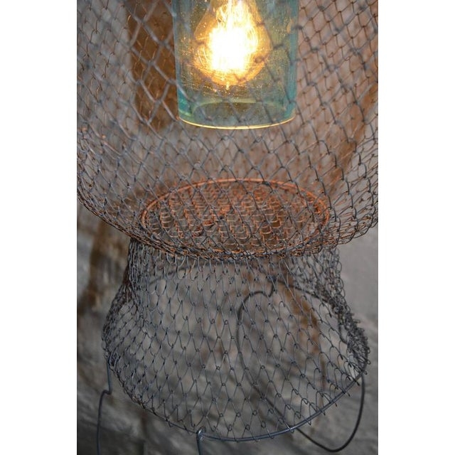 Pendant Light from Seltzer Bottle Suspended in French, Steel Mesh Fish Basket - Image 8 of 11
