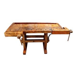 Industrial Wooden Carpenter's Workbench