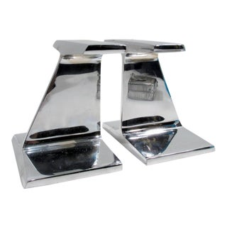 Prestini Bennett Style Industrial Chrome Steel I Beam Bookends - S Pair