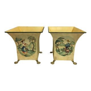 London Sagalyn Hand Painted Tole Planters - a Pair