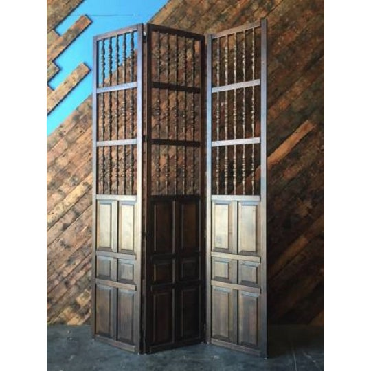 Walnut Mid Century Room Divider w/Carved Spindles - Image 2 of 8