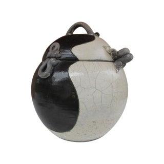 1950s White And Black Glaze Pottery Vessel