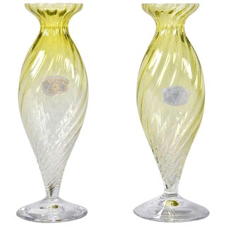 Mid-Century Chartreuse Val Saint Lambert Glass Vases - A Pair