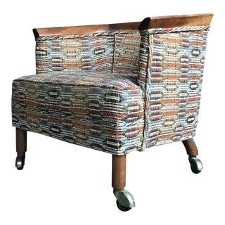 Vintage Mid-Century Erwin Lambeth for Tomlinson Walnut Slipper Chair on Caster