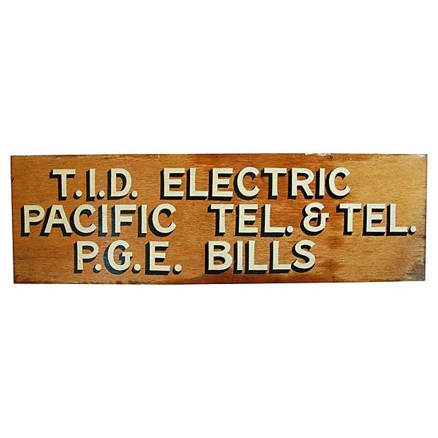 1950s Hand-Painted Wood Utility Billing Sign - Image 5 of 5