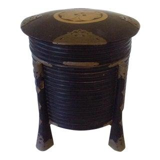 Japanese Black Lacquer Storage Box