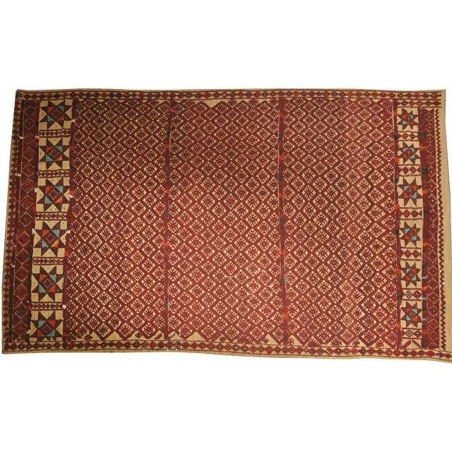 "Vintage Moroccan Wool Straw Rug - 6'9"" X 11'4"""