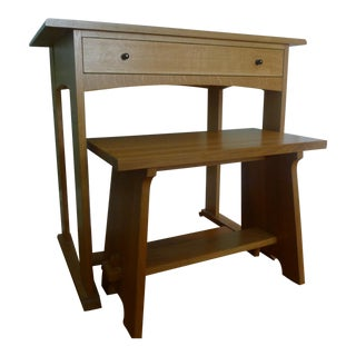 Stickley Mission Oak Harvey Ellis Writing Desk and Fireside Bench