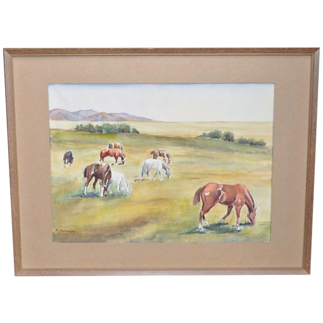 California Landscape with Horses Watercolor - Image 1 of 5