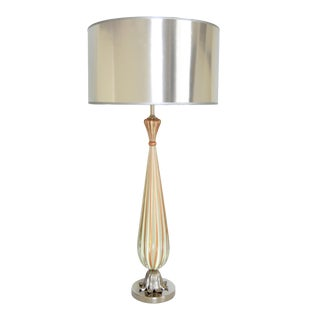Italian Murano White Striped Glass & Chrome Table Lamp - Mid Century Modern MCM Venetian Italy