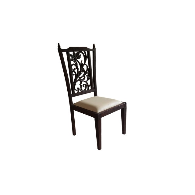 Image of Teak Wood Carved Back Dining Chairs - Set of 6