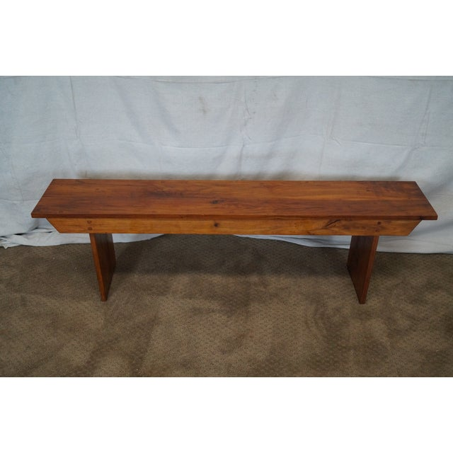 Image of Vintage Hand Crafted Solid Walnut Benches - A Pair