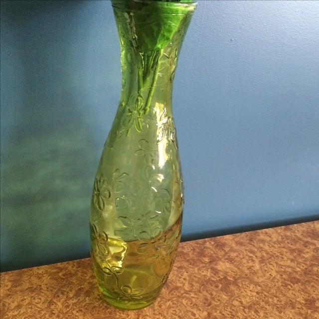 Green Glass Flower Vase - Image 7 of 10