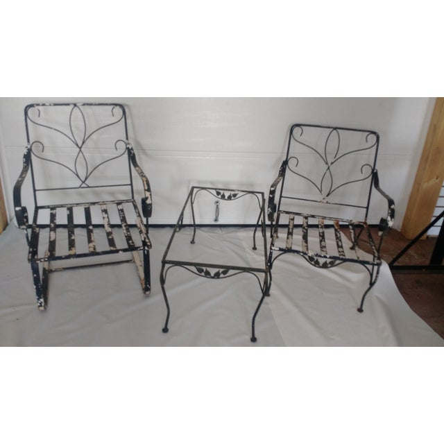 vintage wrought iron outdoor furniture set of 4 chairish