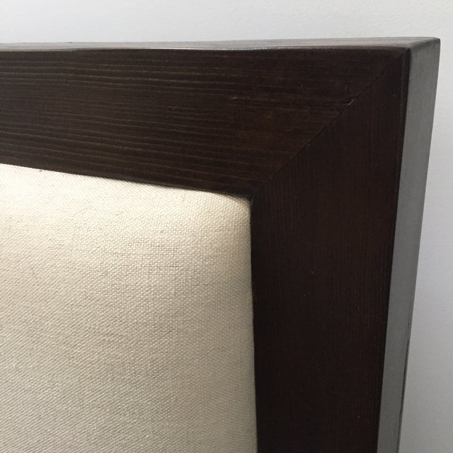 Solid Dark Wood & Ivory Upholstered King Bedframe - Image 5 of 8