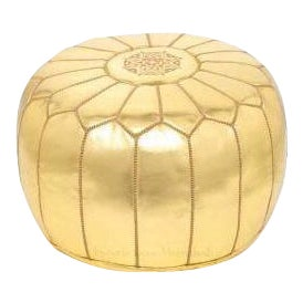 Moroccan Gold Metallic Embroidered Leather Pouf Ottoman