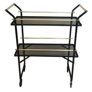 Smart French Black Metal and Brass Bar Cart