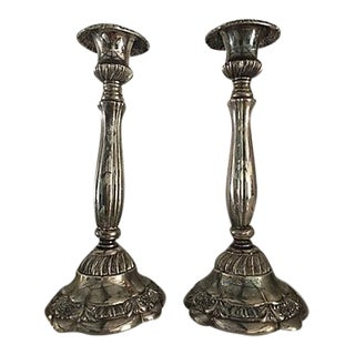 English Silver-Plate Candleholder - A Pair