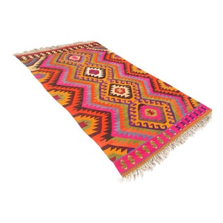 Vintage Turkish Kilim Rug - 5′7″ × 9′5″