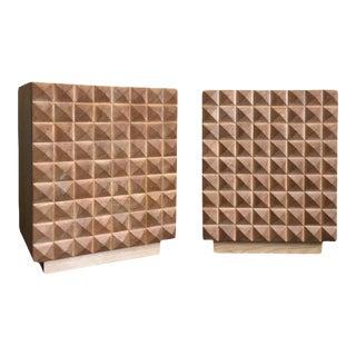 Sabin Custom Rexford Geometic Oak Nightstands - a Pair