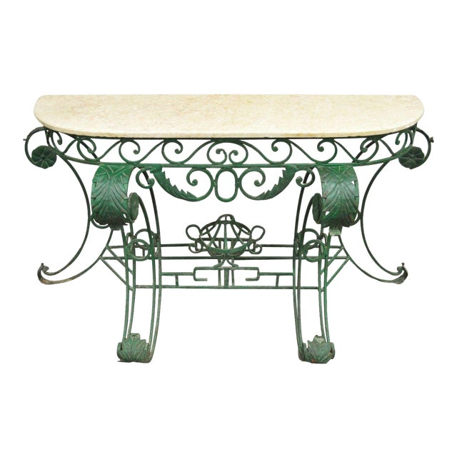 Italian Regency Style Green Wrought Iron Marble Top Console Table - Image 1 of 11