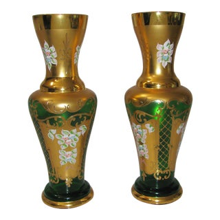 Vintage Hand Painted Bohemian Gold & Emerald Green Vases - A Pair