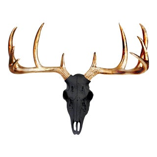 Black & Metallic Gold Faux Antlers Mini Deer Skull by Wall Charmers