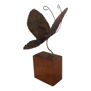 Brass Brutalist Butterfly Sculpture