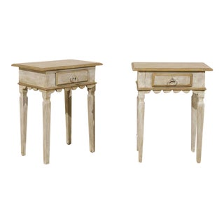 Pair of Brazilian Gilded and Painted Wood Side Tables with Scalloped Skirt