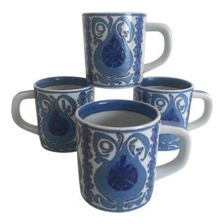 1969 Nils Thorsson Royal Copenhagen Fajance Porcelain Mugs- Set of 4