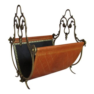 Brass With Embossed Leather Magazine Rack