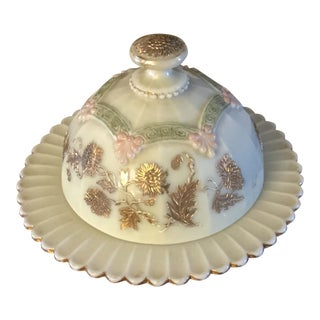 Northwood Custard Glass Covered Butter Dish