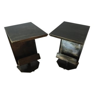 Art Deco Artist Bronze Patina Side Tables - A Pair