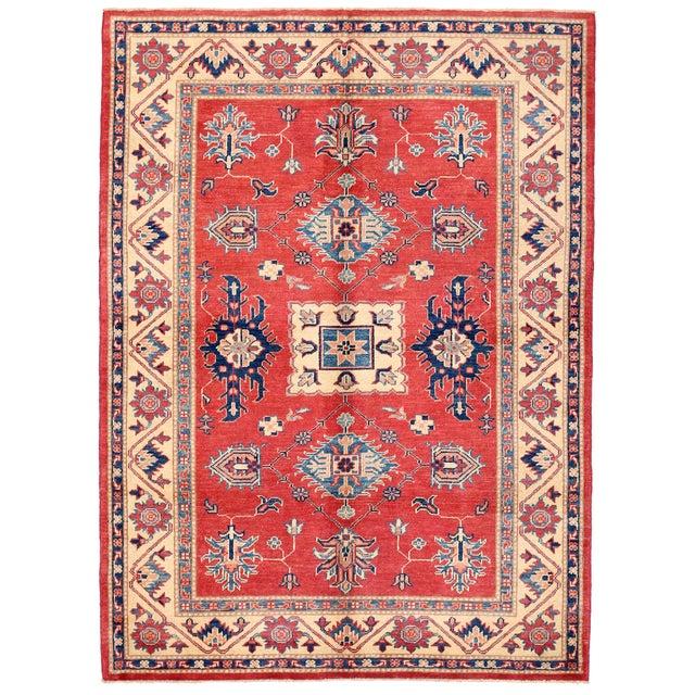 """Red & Ivory Kazak Wool Rug - 4'10"""" X 6'8"""" - Image 1 of 2"""