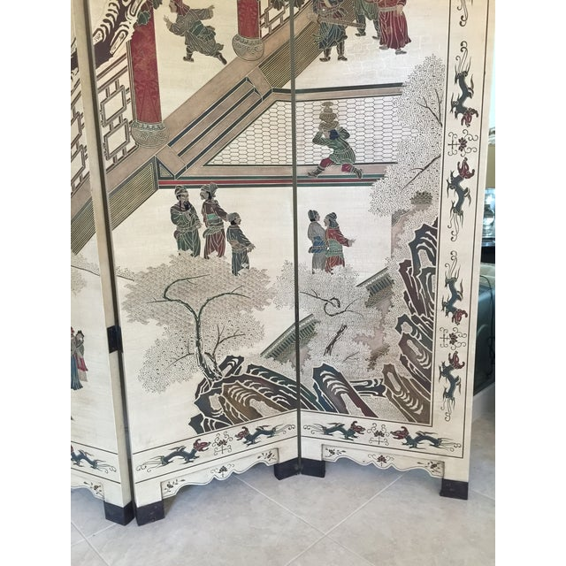 Hand-Painted Chinese Wood Screen - Image 8 of 11