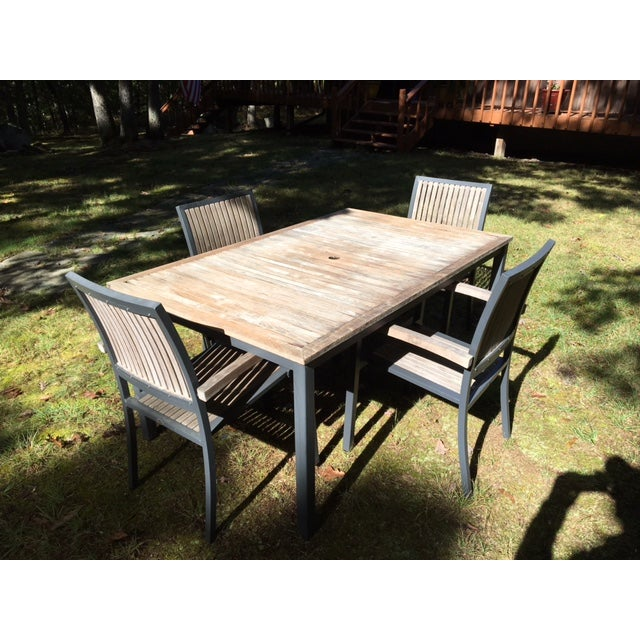 Danish Outdoor Teak Dining Set - S/5 - Image 2 of 9