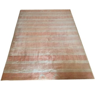 "Swedish Hand-Knotted Pink & Gold Rug - 6'3"" x 9'"