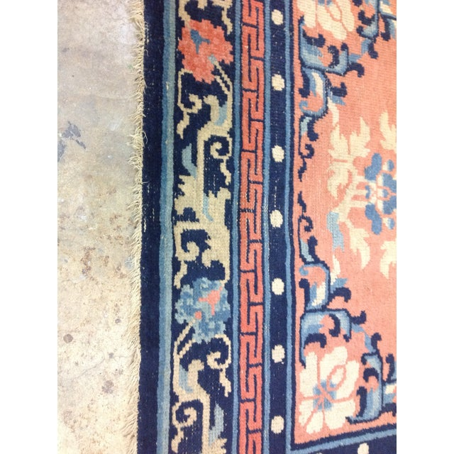 """Art Deco Navy & Coral Chinese Rug - 4'3"""" X 6'3"""" - Image 3 of 6"""