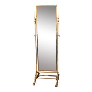 Hollywood Regency Style Brass Cheval Mirror