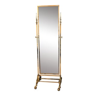 Hollywood Regency Style Brass Cheval Mirror